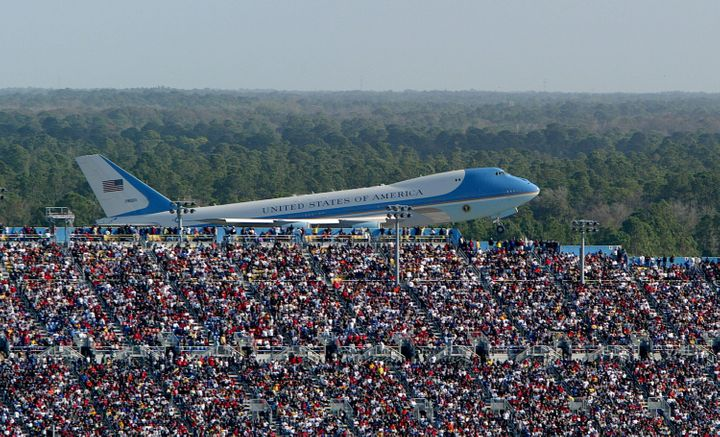 In this 2004 file photo, Air Force One takes off with former President George W. Bush aboard after attending the NASCAR Nexte