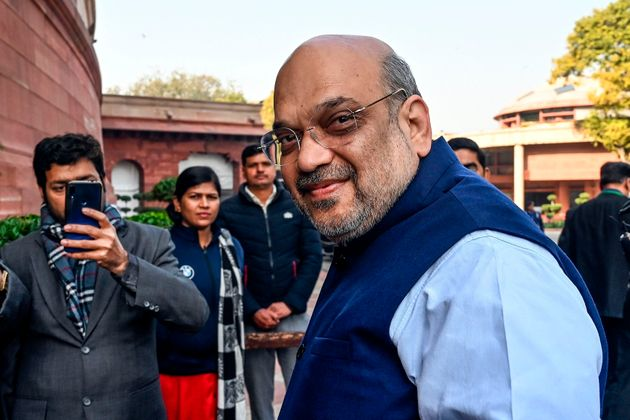 Home Minister Amit Shah at the Parliament House in New Delhi on February 1,
