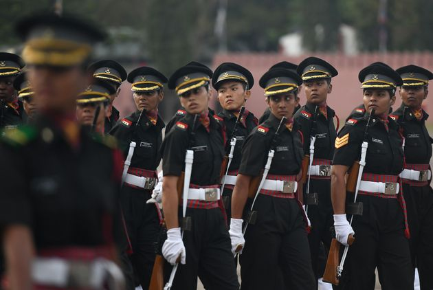 Indian women army cadets march during their graduation ceremony at the Officers Training Academy in Chennai...