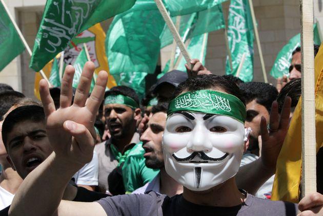 Un simpatizante de Hamás, en una protesta en Hebrón, en