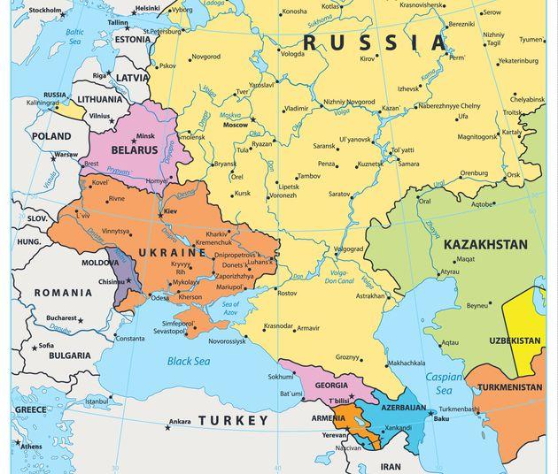 東ヨーロッパの地図。グルジアは中央下部のピンク色の部分。