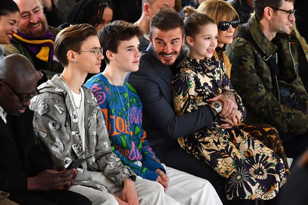 The Beckham family – including Harper on David's lap – at her latest London
