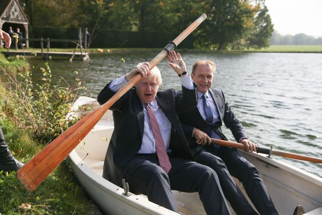 Boris Johnson (left) in a row boat with Czech Republic's Deputy Foreign Minister Ivo Sramek on a boating...