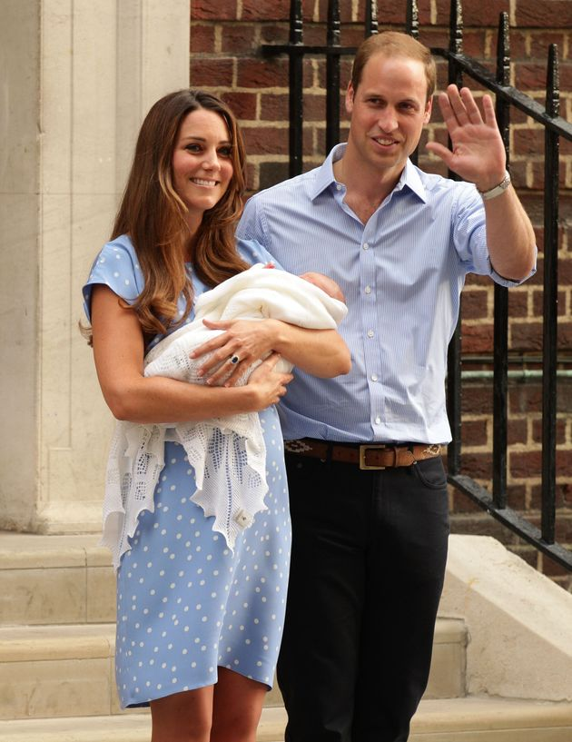 The Duke and Duchess of Cambridge pose outside the Lindo Wing of St Mary's Hospital in London with their...