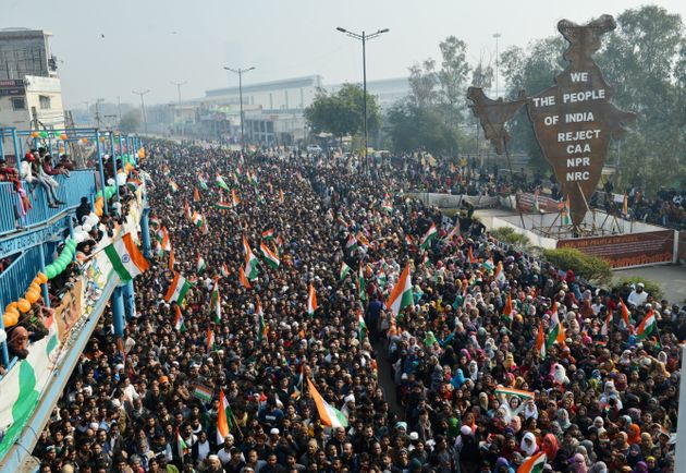 Anti-CAA protesters celebrating the 71st Republic Day at Shaheen Bagh in New