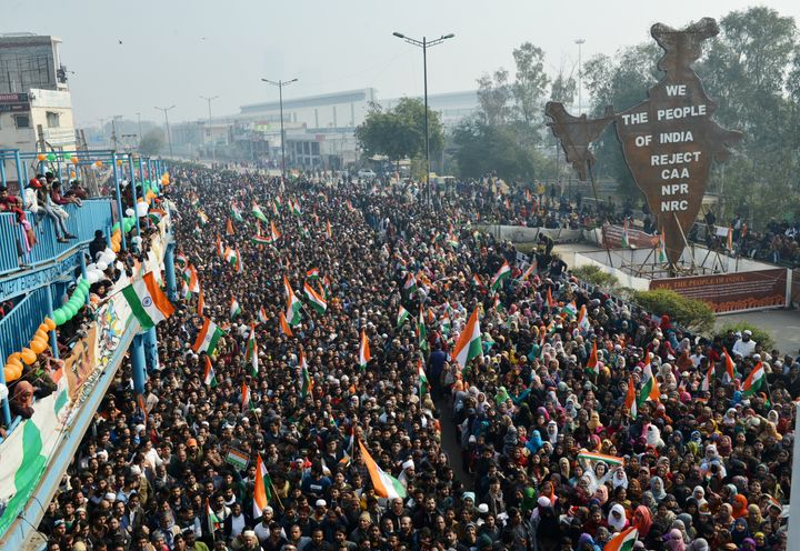 Anti-CAA protesters celebrating the 71st Republic Day at Shaheen Bagh in New Delhi.