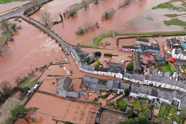 An aerial view of the Welsh village of Crickhowell which has been cut off as the river Usk bursts its...