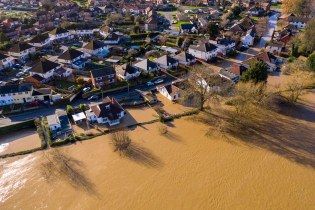 Flooding from the River Wye in Hereford following Storm