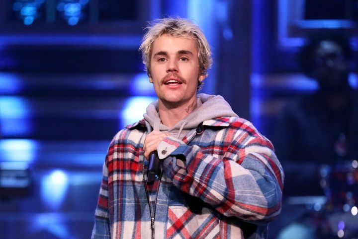 "Justin Bieber (and his mustache) performs on ""The Tonight Show With Jimmy Fallon."""