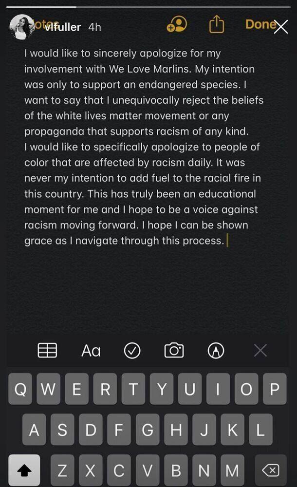 Victoria Fuller instagram apology