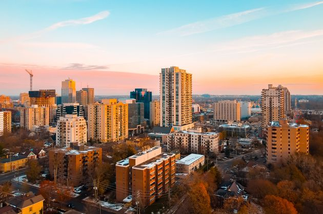An aerial view of apartment buildings in London, Ont. The city has seen some of the fastest rental rate...