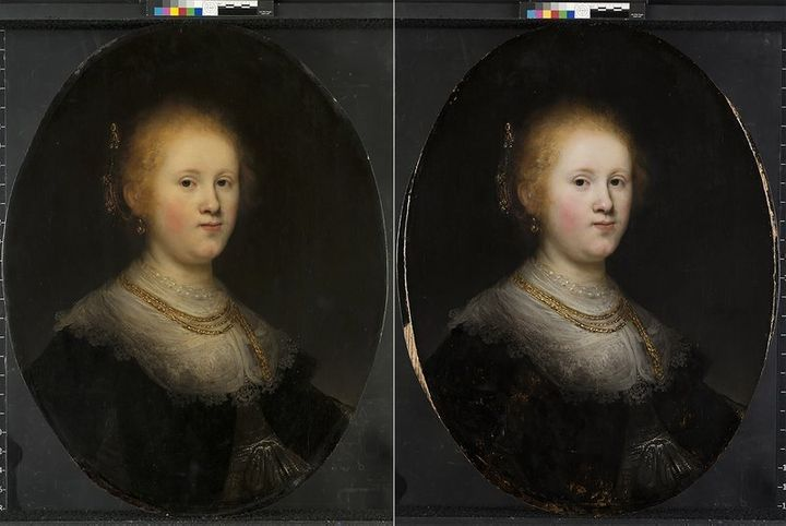 """This photo combo provided by Allentown Art Museum shows from left, before and after restoration of a painting called """"Portrai"""