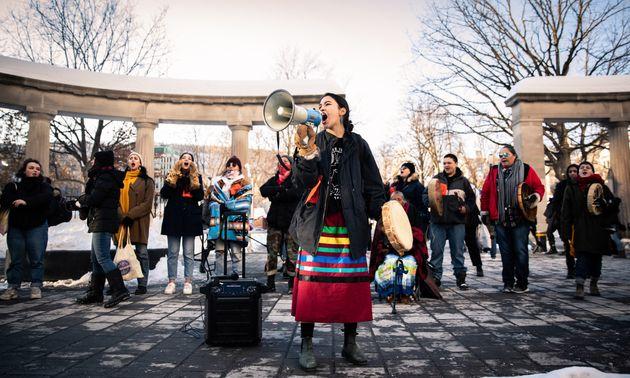 Solidarité avec les Wet'suwet'en: manifestation au centre-ville de