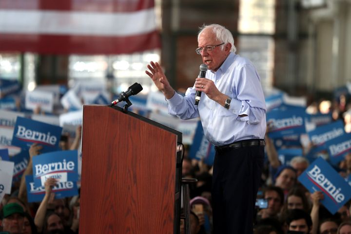 Democratic presidential candidate Bernie Sanders speaks during a campaign event on Feb. 17, 2020, in Richmond, California, ah