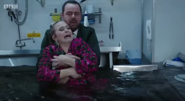 Danny Dyer and Kellie Bright filmed these scenes in a water