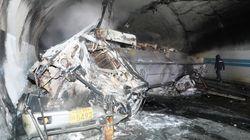 '차량 연쇄 추돌에 불길' 사매2터널 사고 CCTV