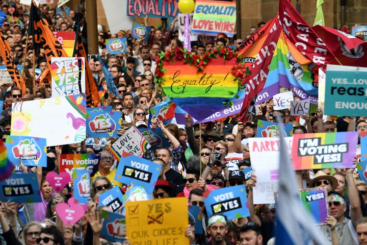 This picture taken on September 10, 2017 shows demonstrators taking part in a same-sex marriage rally in Sydney.