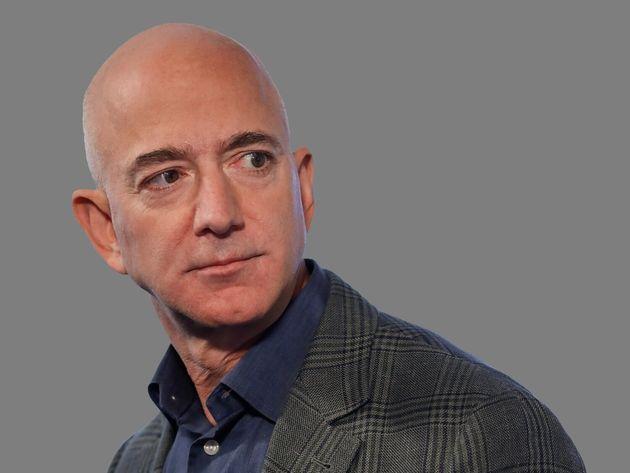 Jeff Bezos headshot, Amazon founder and CEO, graphic element on
