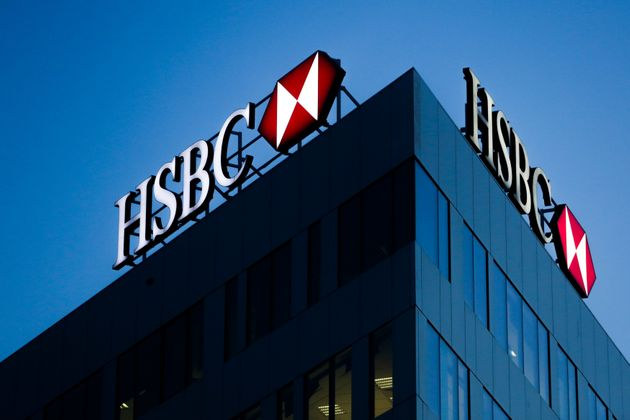 HSBC bank logo is seen on the office building in Krakow, Poland on February 12, 2020. (Photo by Jakub...