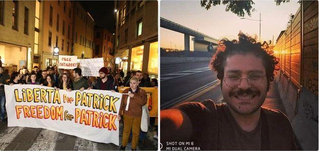Una manifestazione per il rilascio di Patrick Zaky - un selfie dello studente egiziano dell'Alma Mater...