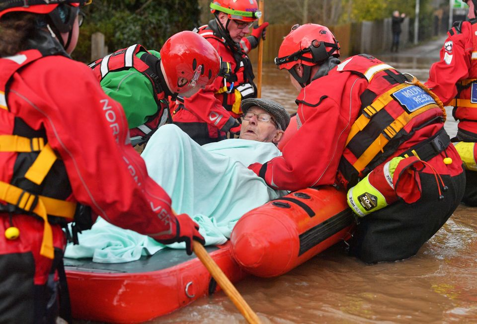Mountain Rescue team members rescue Peter Morgan from his house where he has lived his whole life, which...