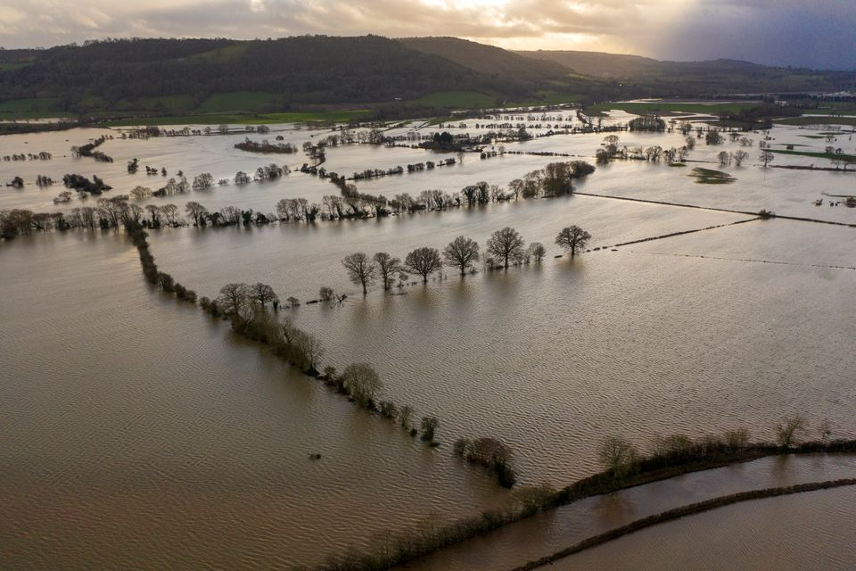 Floodwater covers fields in the Wye Valley in Hereford,