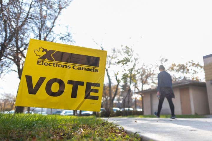 A woman leaves a voting station at Regina Senior Citizens' Centre on election day in Regina on Oct. 21, 2019.