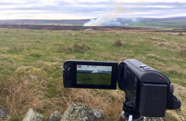 Filming of peat bog burning on the Yorkshire