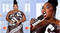 Lizzo Looks Good Enough To Eat In Chocolate Wrapper Dress On Brits Red