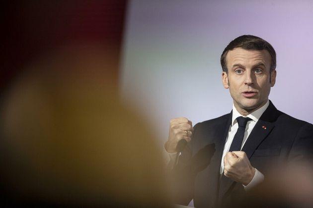 Emmanuel Macron à Mulhouse (Haut-Rhin) le 18 février