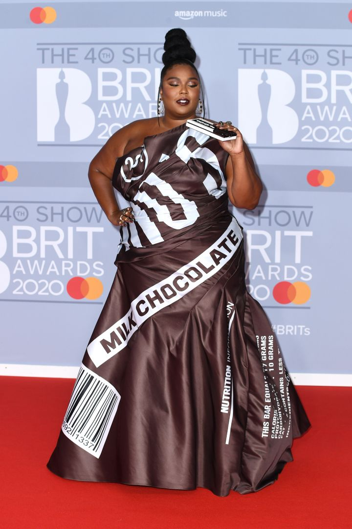 Lizzo at the BRIT Awards 2020 in London on Tuesday.