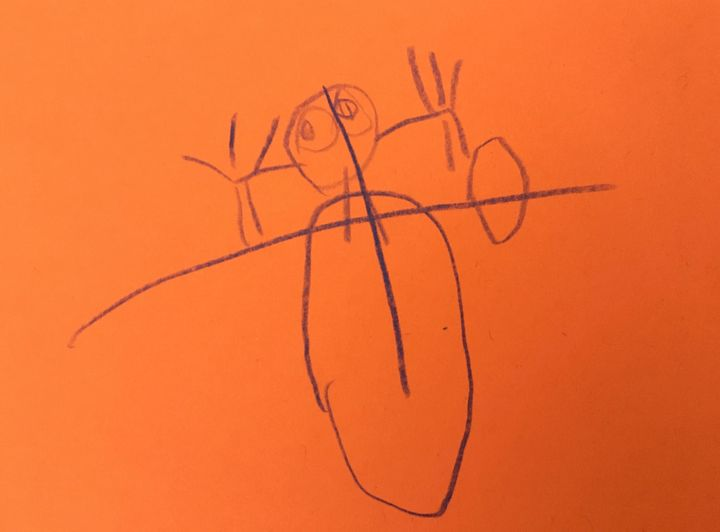A four-year-old's depiction of Mommy rolling her ankle. This picture started it all.