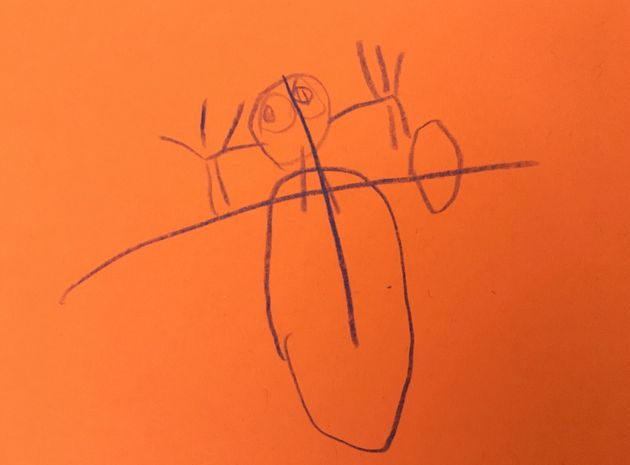 A four-year-old's depiction of Mommy rolling her ankle. This picture started it