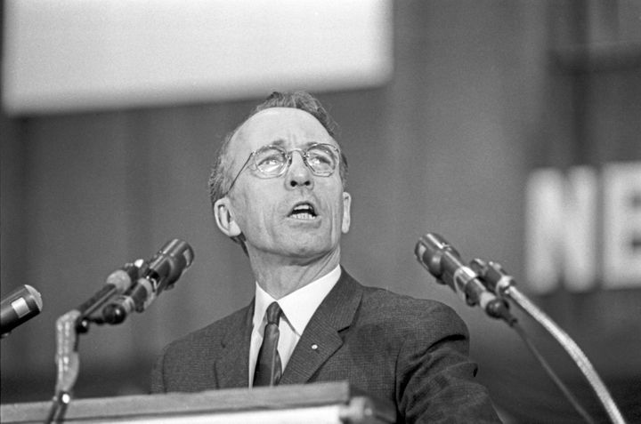Tommy Douglas speaks at a New Democratic Party of Canada rally at Maple Leaf Gardens in Toronto on March 29, 1963.