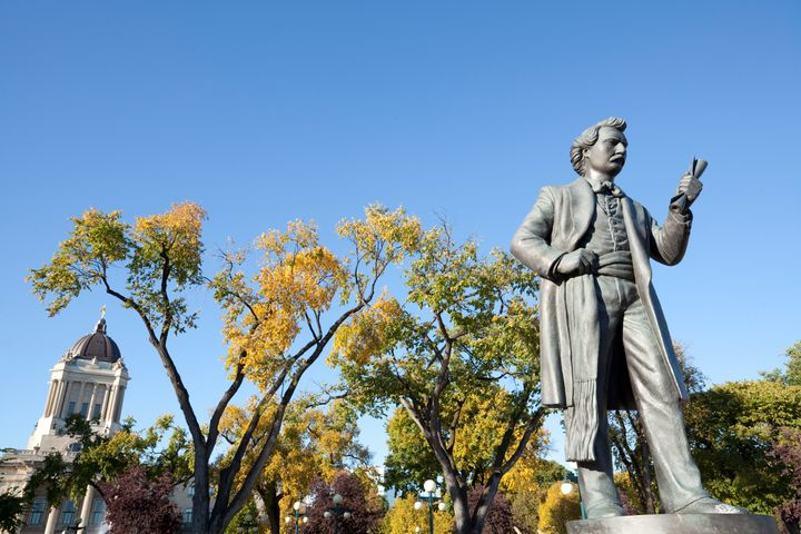 A sculpture of Louis Riel on the grounds of the Manitoba legislature.