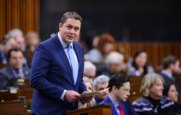 Conservative Leader Andrew Scheer delivers a statement in the House of Commons on Feb. 18, 2020.