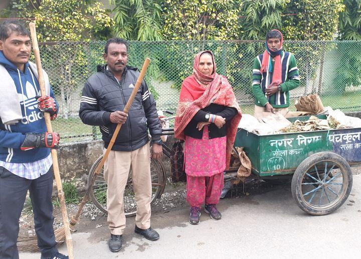 Sanitation workers of Panchkula's Municipal Corporation.