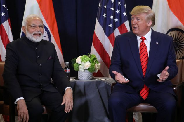 U.S. President Donald Trump speaks during a bilateral meeting with Prime Minister Narendra Modi on the...