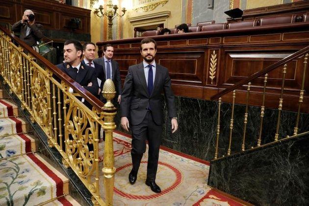 El líder del PP, Pablo Casado, a su llegada a la segunda sesión de control al Gobierno...
