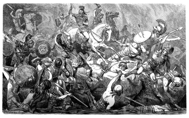 Illustration of a downfall of the Athenians during the Peloponnesian