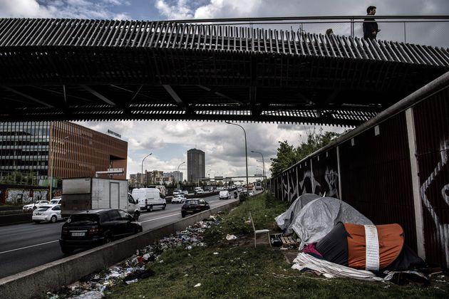Porte d'Aubervilliers, le 10 mai 2019. Des migrants qui vivent près du périphérique...