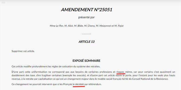 Capture d'écran de l'un des amendements déposés par Marine Le