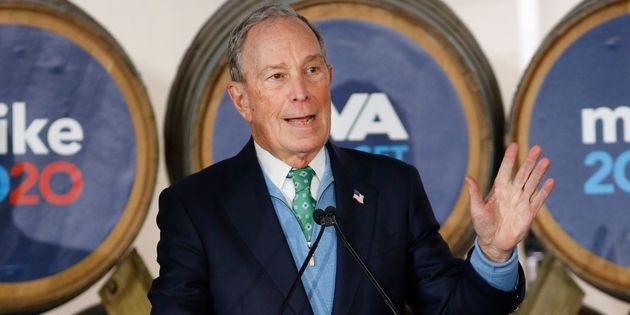 Le candidat démocrate Mike Bloomberg lors d'un discours de campagne le 15 février à...