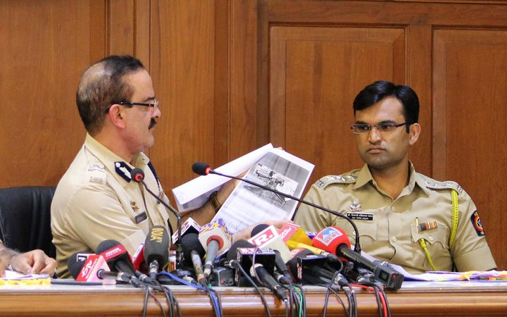 The then Maharashtra ADG Param Bir Singh with ACP Shivaji Pawar (R) at a press conference on August 31, 2018 in Mumbai. Maharashtra Police had claimed that they had evidence against the arrested activists in the form of emails, documents and secret conversations for an armed overthrow of Modi government.