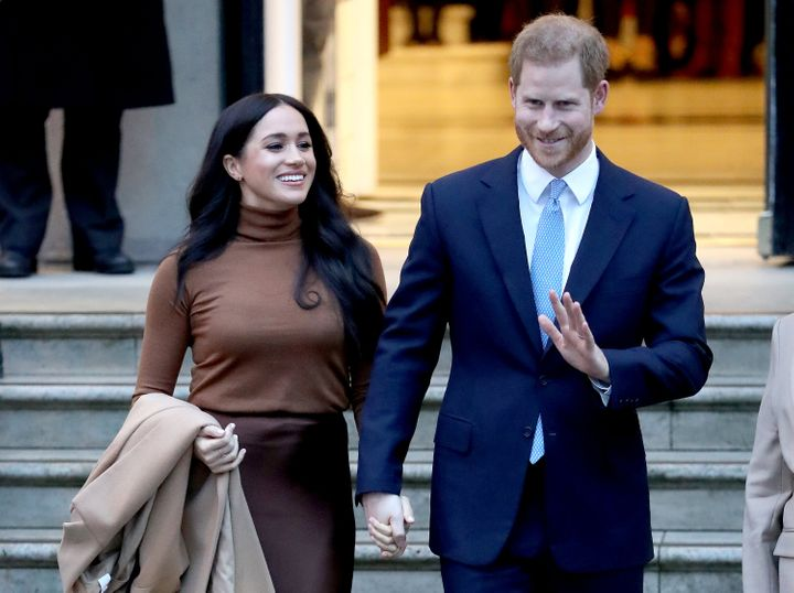 Prince Harry, Duke of Sussex, and Meghan, Duchess of Sussex, depart Canada House on Jan. 7, 2020 in London.
