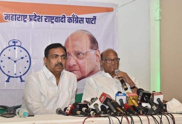 NCP chief Sharad Pawar addressing a press conference in Mumbai on