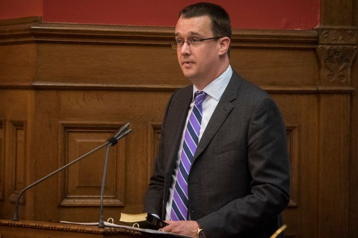 Monte McNaughton is sworn into his role as Ontario Minister of Labour at Queen's Park in Toronto on June 20, 2019.