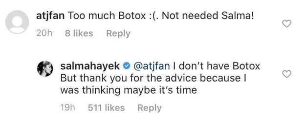 Salma Hayek Had The Best Response To Unsolicited Advice About