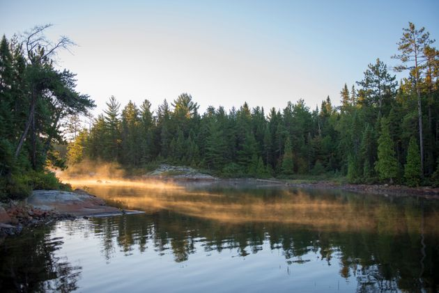 Sunrise on a lake in the Temagami area in northeastern