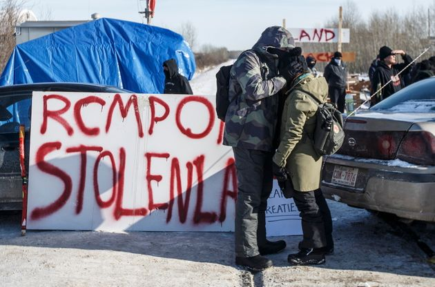 Supporters of the Wet'suwet'en hereditary chiefs block a CN Rail line just west of Edmonton on Feb. 19,